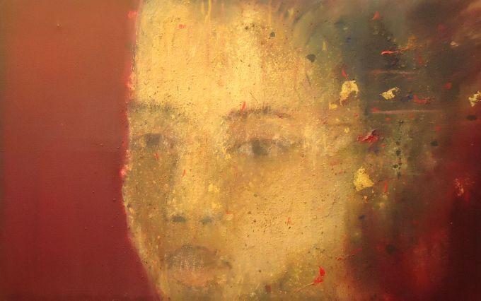 cabeza de una niña, 160x120 cms, oleo, pigmentos y oro  sobre lienzo