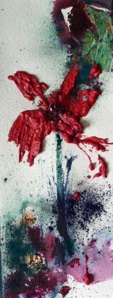 lirio II, encaústica, hibisco, cobre quemado al ácido y pigmentos sobre papel hecho a mano, 60x20 cms