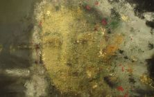 mujer con manto II.160x120cms, oro, pigmentos, oleo sobre lienzo