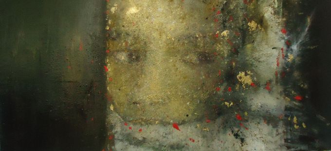 niña velada, 195x100 cms, oleo, oro y pigmentos sobre  lienzo