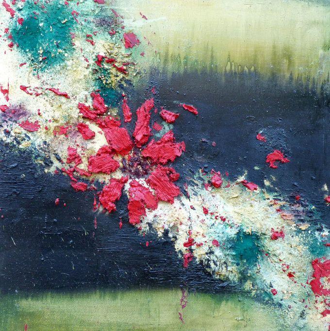 nymphae I, encáustica, pigmentos, óleo sobre lienzo,  100x100 cms